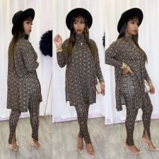 Geometric Print Split Long Tops And Pants 2 Piece Sets XMY-9284