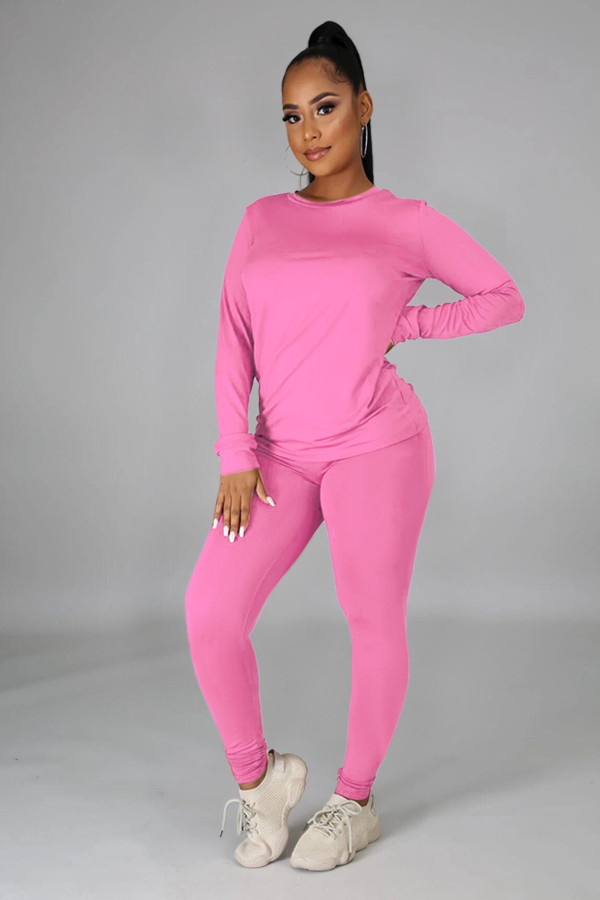 Solid Long Sleeve O Neck Casual Two Piece Sets SFY-217