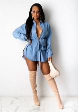 Casual Long Sleeve Denim Belted Mini Dress LA-3242