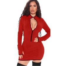 Sexy Solid Long Sleeve Zipper Bodycon Mini Dress XMY-9285
