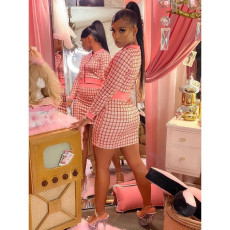 Plaid Print Long Sleeve Mini Skirt Two Piece Sets LM-8215