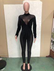 Sexy Mesh Velvet Patchwork Jumpsuits BN-9262
