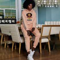 Queen Letter Print Hoodie Long Sleeve 2 Piece Sets QY-5228