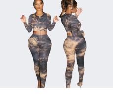 Tie dye Slim Long Sleeve Pants Two Piece Set YIBF-6017