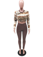 Leopard Print Long Sleeve Top And Pants Two Piece Set YIBF-6021