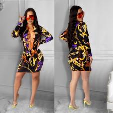 Sexy Retro Print Lace Up Hollow Mini Dress CHY-1304