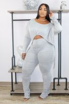 Fashion Casual Drawstring Ruched Long Sleeve Trousers Two Piece Set ZKF-1051