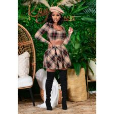 Sexy Plaid Crop Top Pleated Mini Skirt 2 Piece Sets CHY-1303