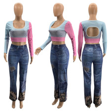 Plus Size All-match Imitation Denim Printed Casual Pants SZF-6079