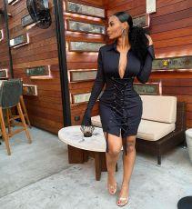 Sexy Lace Up Tight Long Sleeve Black Mini Dress AWYF-708