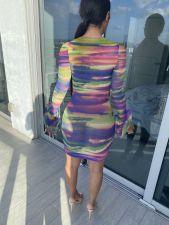 Sexy Mesh Printed Flare Sleeve Mini Dress MN-9282