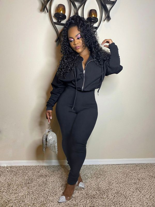 Fashion Casual Solid Color Zipper Pile Sleeve Jumpsuit ZKF-1050