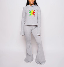 Gray Print Hoodie And Flare Pants Two Piece Set YIBF-6023