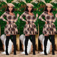 Plaid Print Long Sleeve Pleated Mini Dress CHY-1305