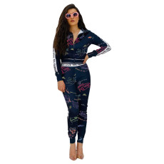 Fashion Letter Print Coat And Pants Two Piece Set XSF-6026