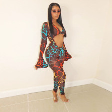 Sexy Printed Deep V Neck Flare Sleeve Jumpsuit With Bra Top SH-390040