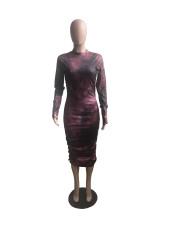 Plus Size Print Long Sleeve Round Neck Slim Midi Dress WXF-8013