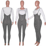 Houndstooth Print Long Sleeve Tops Strap Pants 2 Piece Sets SH-390060