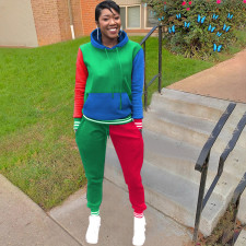 Fashion Multicolor Splice Hooded Sweatshirts And Pants Suit YUHF-8835