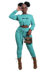 Fashion Long Sleeve Letter Embroidered T-shirt And Pants Two Piece Set YIBF-6019