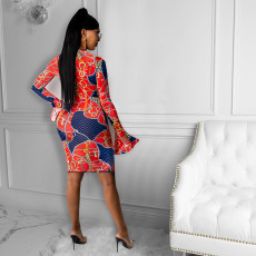 Retro Print Long Sleeve Midi Dress SZF-6084