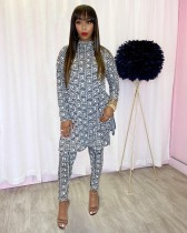 Geometric Print Split Long Top Pants 2 Piece Sets QZX-6183