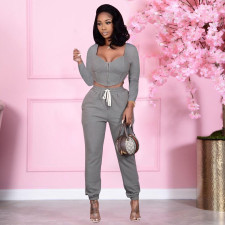 Sexy Solid Color Zipper Top And Sweatpants Two Piece Set CQF-932