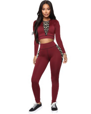 Plus Size Fashion Casual Leopard Print Splice Long Sleeve Pants Two Piece Set YUHF-8098
