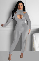 Hollow Out Solid Color Sexy Jumpsuit XSF-6027