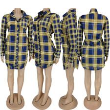 Casual Long Sleeve Lapel Plaid Shirt Dress ANNF-6035