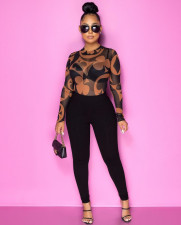 Sexy Print Round Neck Long Sleeve See Through T-shirt OXF-8015