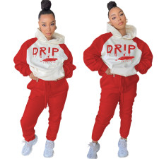 Casual Hooded Letter Printed Sweatshirts And Pants Two Piece Set YUF-9053