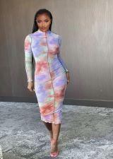 Long Sleeve Tie-dye Print Sexy Midi Dress YIBF-6013