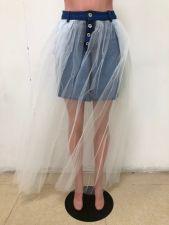 Fashion Denim Splice Mesh Skirt OMY-5129