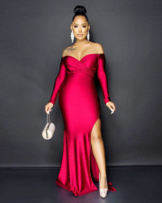 Sexy Slash Neck High Split Long Evening Dress LS-5036