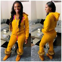 Plus Size Casual Solid Hooded Zipper Two Piece Sets CQ-093