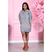 Casual Solid Drawstring Hoodie Dress XMY-9287
