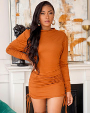 Solid Color Round Neck Long Sleeve Midi Dress NSFF-8002
