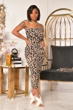 Leopard Print Tube Dress+Long Cloak Two Piece Sets NY-2073