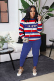Plus Size Casual Striped Letter Long Sleeve 2 Piece Sets MTY-6396