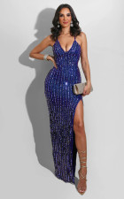 Sexy Sequined Strappy Backless High Split Evening Dress LS-0333