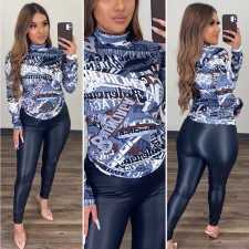 Plus Size Long Sleeve Slim Mid-high Collar Printed Top T-shirt AWF-5834