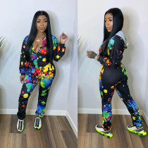 Fashion Casual Color Print Hooded Coat And Pants Suit XMF-035