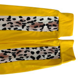 Plus Size 5XL Leopard Patchwork Zipper 2 Piece Sets OSIF-20961