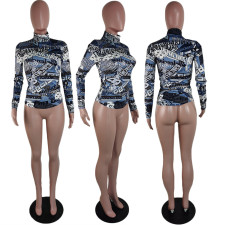 Plus Size Long Sleeve Slim Mid-high Collar Printed Top T-shirt AWF-5834