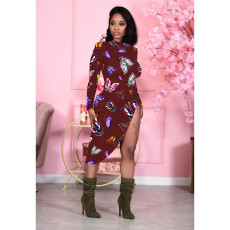 Butterfly Print Long Sleeve Split Irregular Midi Dress WY-6738