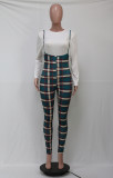 White Long Sleeve Tops+Plaid Strap Pants 2 Piece Sets YS-8753