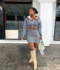 Fashion Casual Sexy Gray Hoodie Coat And Mini Skirt Two Piece Set YLF-8064