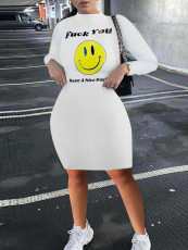 White Letter Smiley Print Bodycon Dress RUF-8171