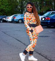 Casual Printed Jacket Pants Two Piece Sets YN-1071